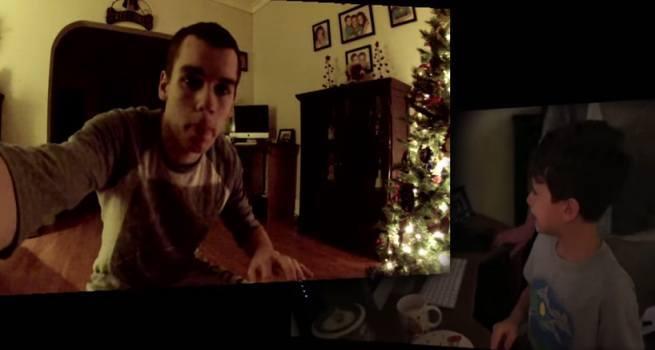 Swiety Mikolaj nagrany na kamere, podczas przynoszenia prezentow