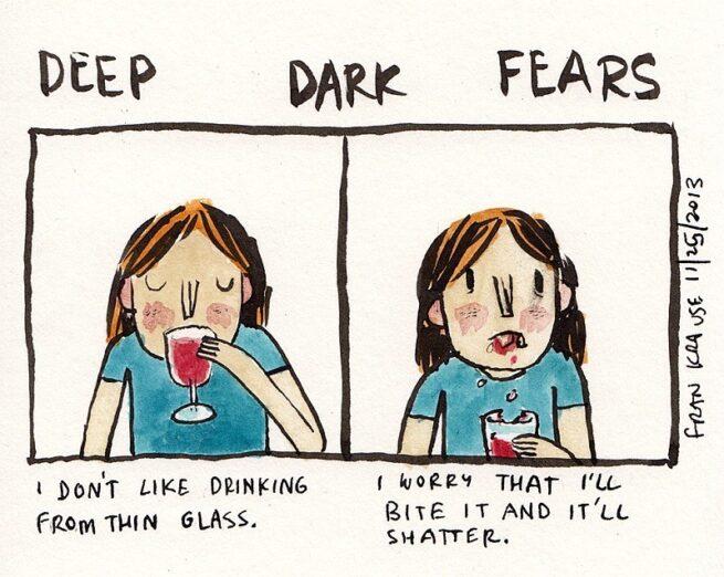 Grafik rysuje komiksy na podstawie ludzkich lęków i obaw 1