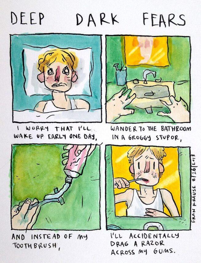 Grafik rysuje komiksy na podstawie ludzkich lęków i obaw 10