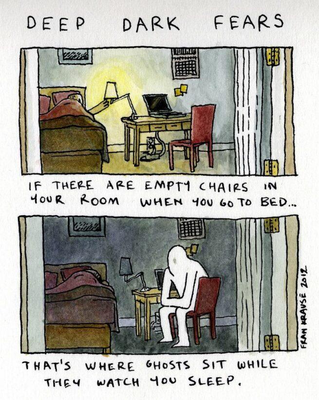 Grafik rysuje komiksy na podstawie ludzkich lęków i obaw 15