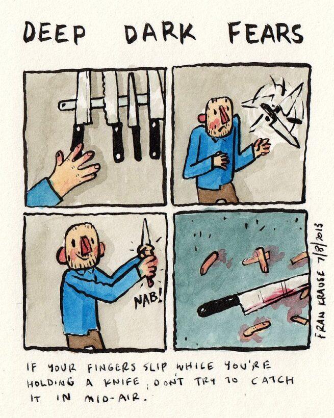 Grafik rysuje komiksy na podstawie ludzkich lęków i obaw 16