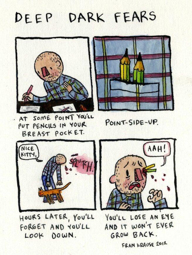 Grafik rysuje komiksy na podstawie ludzkich lęków i obaw 18