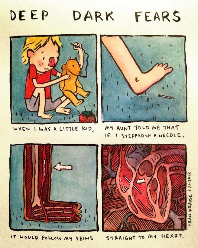 Grafik rysuje komiksy na podstawie ludzkich lęków i obaw 2