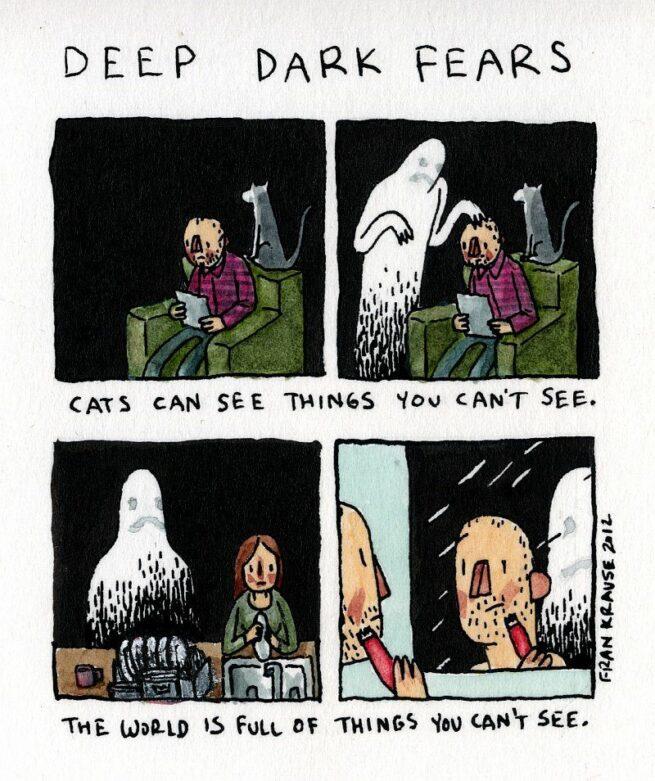 Grafik rysuje komiksy na podstawie ludzkich lęków i obaw 6