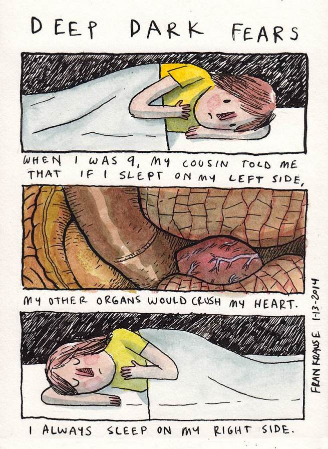 Grafik rysuje komiksy na podstawie ludzkich lęków i obaw 7
