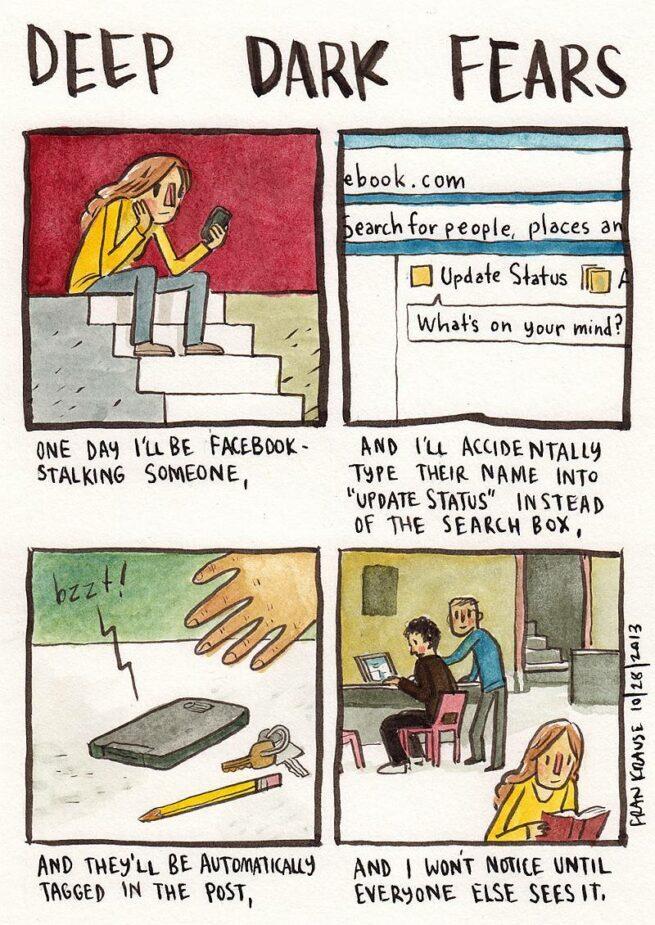 Grafik rysuje komiksy na podstawie ludzkich lęków i obaw 9