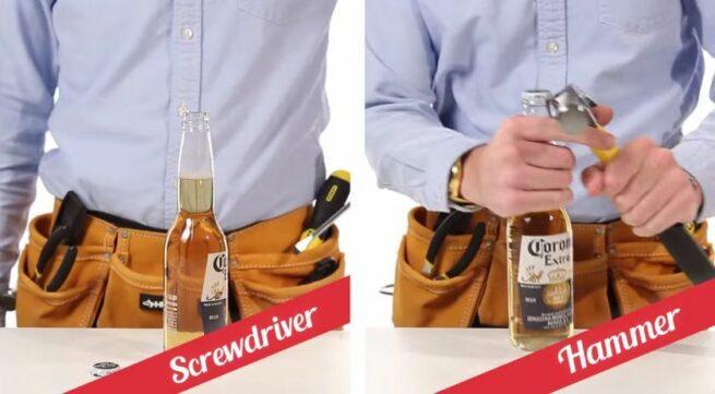 21 sposobów na otwieranie butelek 10 20 śrubokrętem i młotkiem