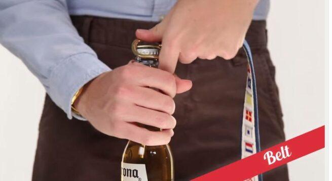 21 sposobów na otwieranie butelek  3 pasekiem od spodni