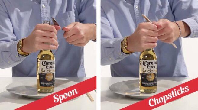 21 sposobów na otwieranie butelek 8 i 9 łyżką i pałeczkami