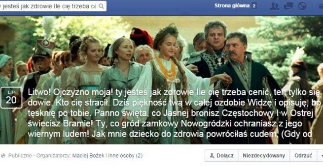 Trolling level Mickiewicz Użytkownicy Facebooka dołączają do wydarzenia którego nazwa to 18 tys słów Pana Tadeusza